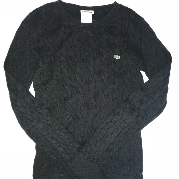 Lacoste Sweaters Womens Cable Knit Sweater Black Poshmark